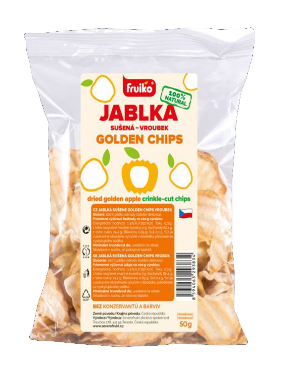 Fruiko Jablko Sušená Golden Chips | PT Servis